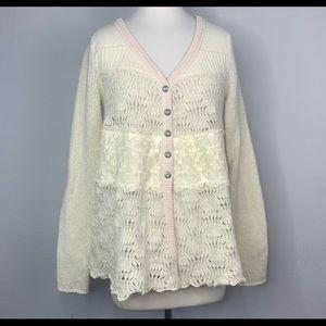 Free People | Knit & Lace wool cardigan Sz Med